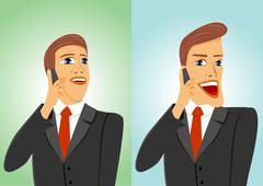 two businessmen talking on the phone - stock illustration