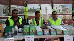 Arab Israelis sell books and music during Nakba Day commemoration Stock Footage
