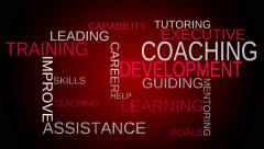 Coaching, development, training tag word cloud - red background - stock footage