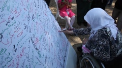 Stock Video Footage of Arab Israelis sign a petition to liberate prisoners during Nakba commemoration