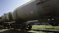 Railroad tanks passing by Stock Footage
