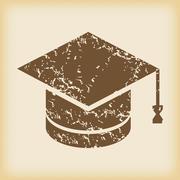 Grungy academic hat icon - stock illustration