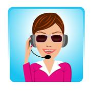 customer support operator with glasses - stock illustration