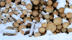 Snow falling beautifully on background of wooden logs Stock Footage