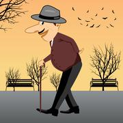 senior walking with a cane - stock illustration