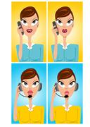 facial expressions of cartoon operator - stock illustration