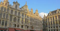 The Grand Place square pan panning right Brussels Belgium architecture center Stock Footage