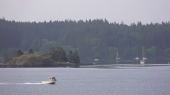 San Juan Islands speeding boat Stock Footage