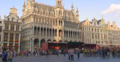 The Grand Place Brussels Bruxelles Belgium EU square center pan king house shot Stock Footage