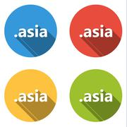 Collection of 4 isolated flat buttons (icons) for .asia domain - stock illustration