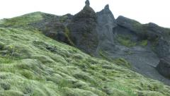 Rural Moss and Rock Formation Next to River in ICELAND Stock Footage