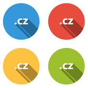 Collection of 4 isolated flat buttons (icons) for .cz domain - stock illustration