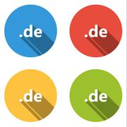 Stock Illustration of Collection of 4 isolated flat buttons (icons) for .de domain
