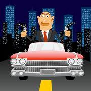 gangster with handgun driving - stock illustration