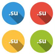 Collection of 4 isolated flat buttons (icons) for .su domain - stock illustration
