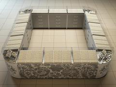 3D illustration of an outlet in hypermarket on sale of gold and silver Stock Illustration