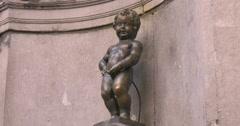Manneken Pis is a famous landmark, Brussels Stock Footage
