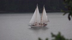 Sailboat, under  sail smooth sailing boat - stock footage