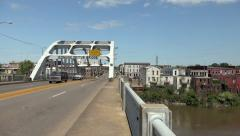 Selma, Alabama Panning Shot To Edmund Pettus Bridge Stock Footage