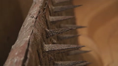 Metal spikes on the wall of Mehrangarh fort, closeup. Stock Footage