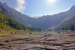 An Alpine Lake in Morning Light - stock photo