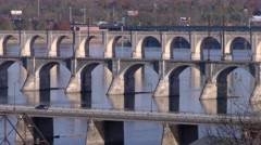 Several Bridges across the Susquehanna River Stock Footage