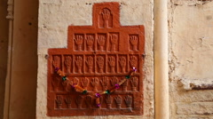 Hamsa carvings on the wall of indoor building at Mehrangarh fort. - stock footage