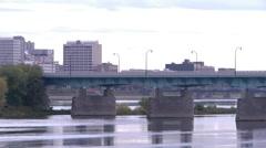 Pan of Harrisburg bridges to Capital Stock Footage