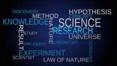 Science, knowledge tag word cloud - blue background - stock footage