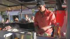 Stock Video Footage of Taco Making just off the Malecon (Broadwalk) in Puerto Vallarta, Mexico