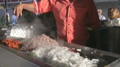 Taco Making just off the Malecon (Broadwalk) in Puerto Vallarta, Mexico Stock Footage