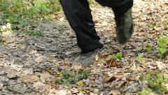 Man Running Walking In Forest Woods 18 Stock Footage