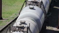 Railroad tanks with chemical reagents - stock footage