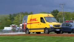 DHL express mail packages, delivery van Stock Footage