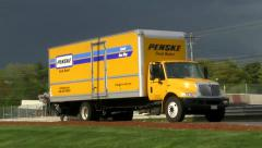 Penske truck van rental on highway - stock footage