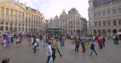 Old square of Brussels (Bruxelles) - the capital and largest city of Belgium Stock Footage