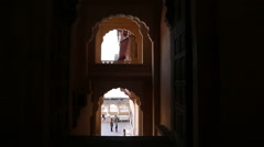 View on entrance of one of buildings of Mehrangarh fort from indoors. Stock Footage