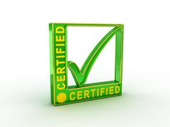 Check  mark icon in rectangle with CERTIFIED word Stock Illustration