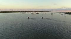 Crandon Marina At Sunset Jet Skies Coming In Stock Footage