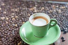 Coffee cup with micro foam - stock photo
