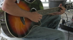 Acoustic Guitar Player Strums Six String Stock Footage
