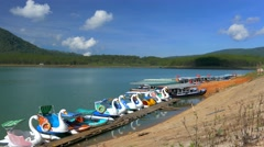 Swan paddle boats in the lake Stock Footage