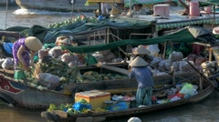 Traditional Floating Market on Mekong Delta Stock Footage