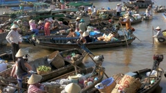 Traditional Floating Market on Mekong Delta - stock footage
