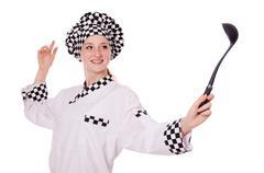 Female chef isolated on white - stock photo