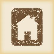 Grungy house sign icon Stock Illustration