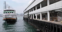 Berthing of a Hong Kong Ferry Stock Footage