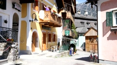 Street of Hallstatt - architecture, Austria Stock Footage