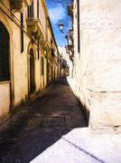 Stock Illustration of Ortigia Alley, Syracuse, Sicily, Italy - Painting effect