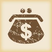 Grungy dollar purse icon - stock illustration